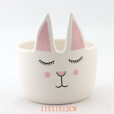 White and Pink Ceramic Rabbit Flower Pot
